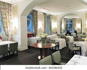 QUITO, ECUADOR - FEBRUARY 22, 2017: Casa Gangotena Dining Room. In a restored historic mansion overlooking Plaza San Francisco, the three-story Boutique Hotel has 31 elegant rooms.