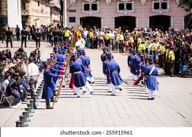 QUITO, ECUADOR - JAN 5, 2015: Unidentified Ecuadorian hussars during a parade in Quito 71,9% of Ecuadorian people belong to the Mestizo ethnic group