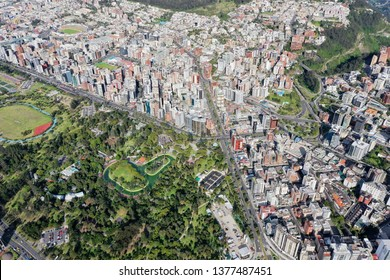 QUITO, ECUADOR - JANUARY 12,2019: Aerial view of the southern part of La Carolina Park and the buildings of the area in Quito.