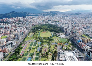 QUITO, ECUADOR - JANUARY 12,2019: An areal view of the northern part of La Carolina part in Quito.
