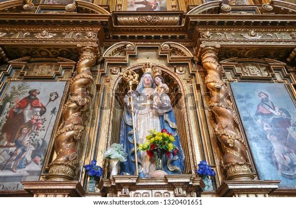 Quito, Ecuador - January 17, 2019. Our Lady of Good Success Statue at the Immaculate Conception Church (Iglesia de la Inmaculada Concepción)