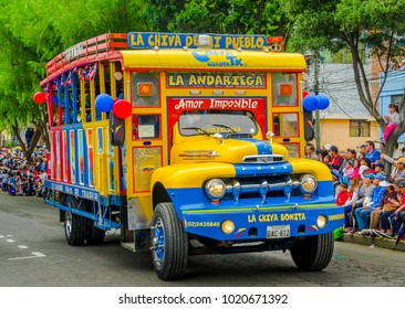 Quito, Ecuador - January 31, 2018: Outdoor view of a colorful chiva buses are important part of rural public transport and some night parties in Quito, Ecuador
