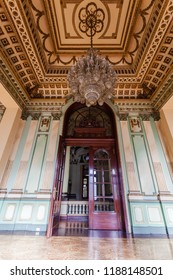 Quito, Ecuador, July 2018: Salons of the old Military Circle building, with neoclassic style and currently Defense Museum, is visited by tourists throughout the week, located in the center of Quito