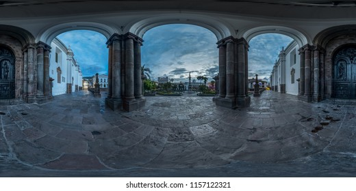 Quito, Ecuador. July 23, 2016: Sunrise view of the Plaza de la Independencia from the Cathedral of Quito. Full spherical 360 degrees seamless panorama, photo for VR AR content