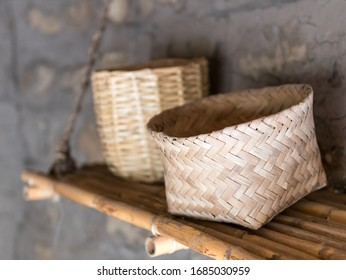 QUITO, ECUADOR - JULY 29, 2018: Weaved baskets on display at the Ethnographic Museum section of the Mitad Del Mundo attraction.