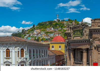 QUITO, ECUADOR - JULY 4, 2018: The historic city center of Quito with the Panecillo hill and Virgin Mary in the background.