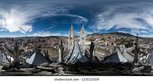 """Quito, Ecuador: July 8, 2016. View from one of the towers of the """"Basilica del voto Nacional"""" of Quito. Full spherical 360 degrees seamless panorama, photo for VR AR content"""