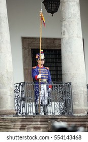 QUITO, ECUADOR - JUNE 19, 2016:Ceremonial guard with a pike on the patio of the Presidential Palace for the weekly changing of the guards and presidential address.