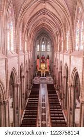 QUITO, ECUADOR - JUNE 24, 2015: Interior of the Basilica of the National Vow in Quito, Ecuador