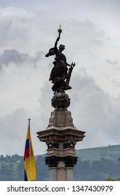 Quito, Ecuador - March 2. 2019: monument in the big square or Plaza de la Independencia in the city of Quito -Ecuador