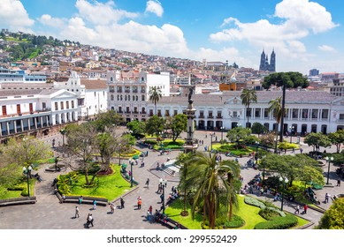 QUITO, ECUADOR - MARCH 6: Activity in the Plaza Grande in the colonial center of Quito, Ecuador on March 6, 2015