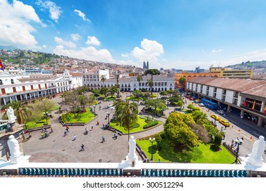 QUITO, ECUADOR - MARCH 6: Activity in the Plaza Grande in Quito, Ecuador on March 6, 2015