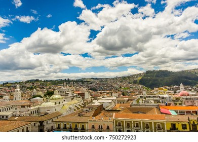 QUITO, ECUADOR - MAY 06 2016: Top view of the colonial town with some colonial houses located in the city of Quito
