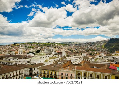 QUITO, ECUADOR - MAY 06 2016: Beautiful view of the colonial town with some colonial houses located in the city of Quito