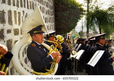 Quito, Ecuador - May 06, 2017: An unidentified group of people performing on a street