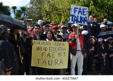 QUITO, ECUADOR - MAY 07, 2017: Unidentified people protest to get decent work with designation and not contract by Ecuadorian government