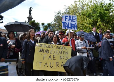 QUITO, ECUADOR - MAY 07, 2017: An unidentified people protest to get decent work with designation and not contract by Ecuadorian government