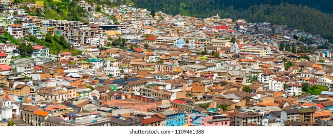 QUITO, ECUADOR - MAY 24, 2018: Cityscape photograph of the historic city center of Quito with its colonial architecture and colors in panoramic format.