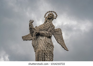 QUITO, ECUADOR - NOVEMBER 2, 2018: The statue of the Virgin of Quito, also known as the Winged Virgin or Apocalyptic Virgin, in the city center of Quito on the Panecillo hill, Ecuador.