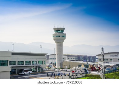 Quito, Ecuador - November 23 2017: outdoor view of the control tower, a building at an airport from which instructions are given to aircraft when they are taking off or landing, in Mariscal