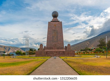 QUITO, ECUADOR - NOVEMBER 5, 2018: The monument at the equatorial line called Mitad del Mundo in the north of Quito, Ecuador.