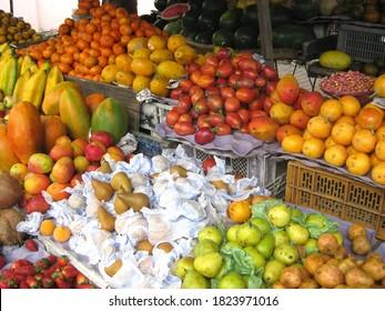 Quito, Ecuador, November 7, 2014: tropical fruits in a market