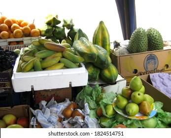 Quito, Ecuador, November 7, 2014: Babaco, Guanabana, Pears and Banana-passionfruit on a market stall