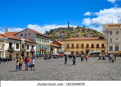 QUITO,  ECUADOR - SEPTEMBER 01, 2019 : Cityscape of Quito and monument The Virgin of EL Panecillo - the tallest aluminium statue in the world. Ecuador.