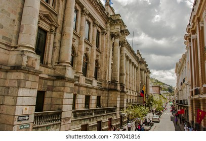 QUITO, ECUADOR - SEPTEMBER 10, 2017: Unidentified people walking in the colonial streets located in the city of Quito