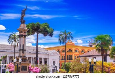 QUITO, ECUADOR SEPTEMBER, 28, 2018: Independence square, monument of heroes of 10 de agosto de 1809. Ecuador, Quito