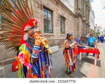 Quito, Ecuador, September 29, 2019: Music indigenous street performers in the historic centre of Quito, Ecuador.