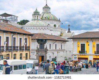 Quito, Ecuador-20 August, 2016: Scenic Quito streets in the old historic city center