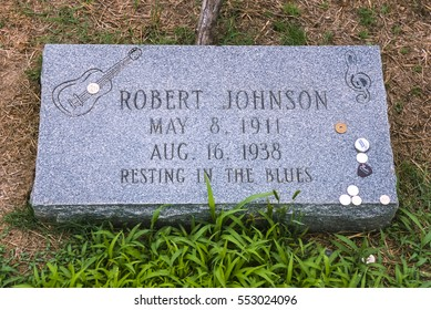 QUITO, MISSISSIPPI, USA - MARCH 5, 2003: Grave marker for possible burial site of Robert Johnson, delta blues musician, in cemetery at Payne Chapel M. B. Church.