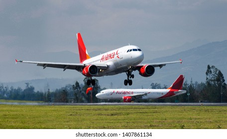 Quito, Pichincha / Ecuador; 26/May/2019: Two Airbus A319 Avianca Airlines at Quito International Airport.