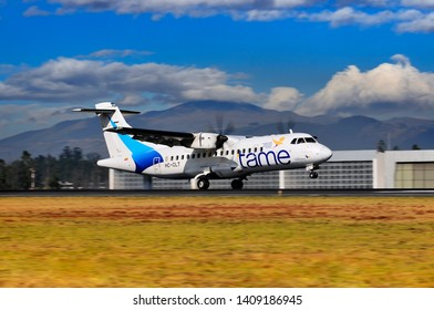 Quito, Pichincha / Ecuador; 27/May/2019: ATR 42-500 Tame Airlines landing at Quito International Airport.