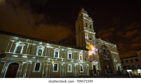 Quito, Pichincha Ecuador - August 9 2017: Close up of spectacle of lights projected on the facade of Church of Santo Domingo, during the Quito light festival