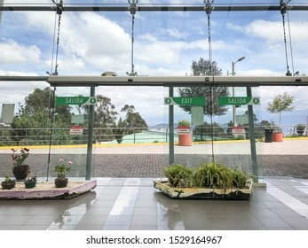 Quito, Pichincha / Ecuador - February 6, 2017: main entrance to the ticketing booths of Al Teleferiqo, as seen from the inside lobby