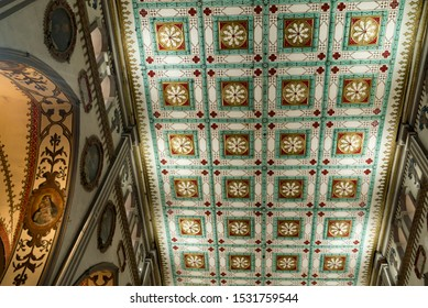Quito, Pichincha / Ecuador - February 6, 2019: Interior roof with decorative pattern on ceiling of Roman Catholic house of worship