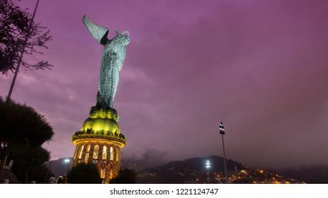 Quito, Pichincha / Ecuador, November 3 2018: Night view of Virgen de El Panecillo or Virgen de Legarda. It is located on the top of Panecillo hill near the historical center of the city of Quito