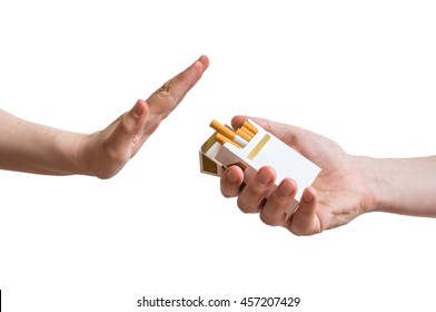 Quitting smoking concept. Hand is rejecting cigarette offer. Isolated on white background.