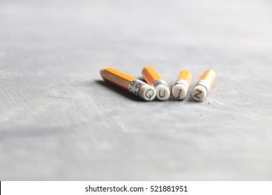Quiz idea, inscription on pencil