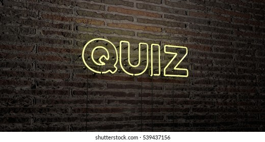 QUIZ -Realistic Neon Sign on Brick Wall background - 3D rendered royalty free stock image. Can be used for online banner ads and direct mailers.