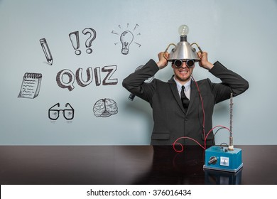 Quiz text with vintage businessman