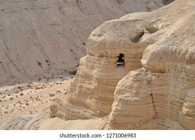 Qumran caves in Qumran National Park, where the dead sea scrolls were found, Judean desert hike, Israel