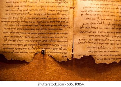 QUMRAN, ISRAEL - JANUARY 10, 2010: Dead Sea Scrolls on display at the caves of Qumran. They consist  biblical and non-biblical  manuscripts