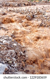 Qumran, Israel, Mishmar Wadi washes over road to Dead Sea after heavy rain, March 8, 1998