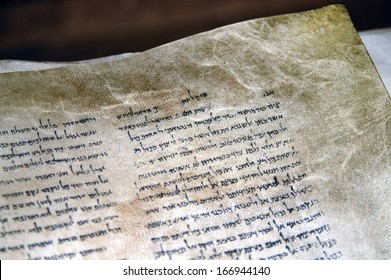 QUMRAN, ISRAEL - SEP 27 2008:The Dead Sea Scrolls on display at the caves of Qumran.They are a collection of 972  Hebrew Bible texts discovered between 1946-1956 at Khirbet Qumran, Israel.