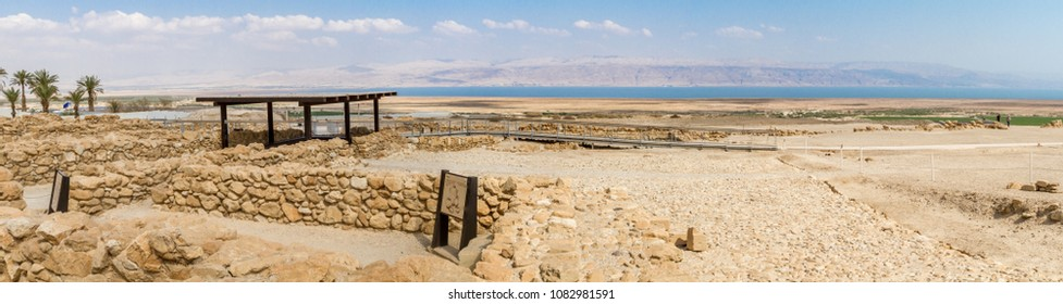 Qumran National Park, where the dead sea scrolls were found and there was a settlement essenes in Judaean desert near Dead Sea, Israel