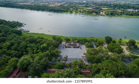 """Quoc Hoc Hue - Century Old High School from high angle view. Huế High School for the Gifted [1] or simply """"the Quốc Học of Huế"""" is a national magnet and gifted high school in Thừa Thiên–Huế, Vietnam."""