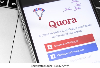 Quora mobile app displayed on smartphone closeup. Quora - Social Knowledge Sharing Service. Moscow, Russia - November 15, 2019